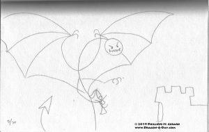 a stick figure dragon stealing a stick figure princess.