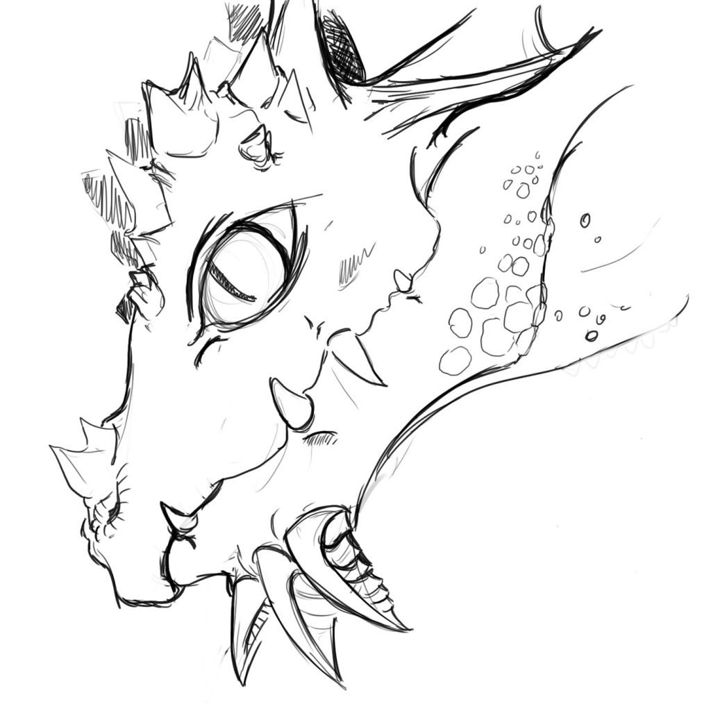 shetch of a dragon's head